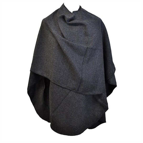 Grand Poncho Gris arrondi Toutacoo Made in France