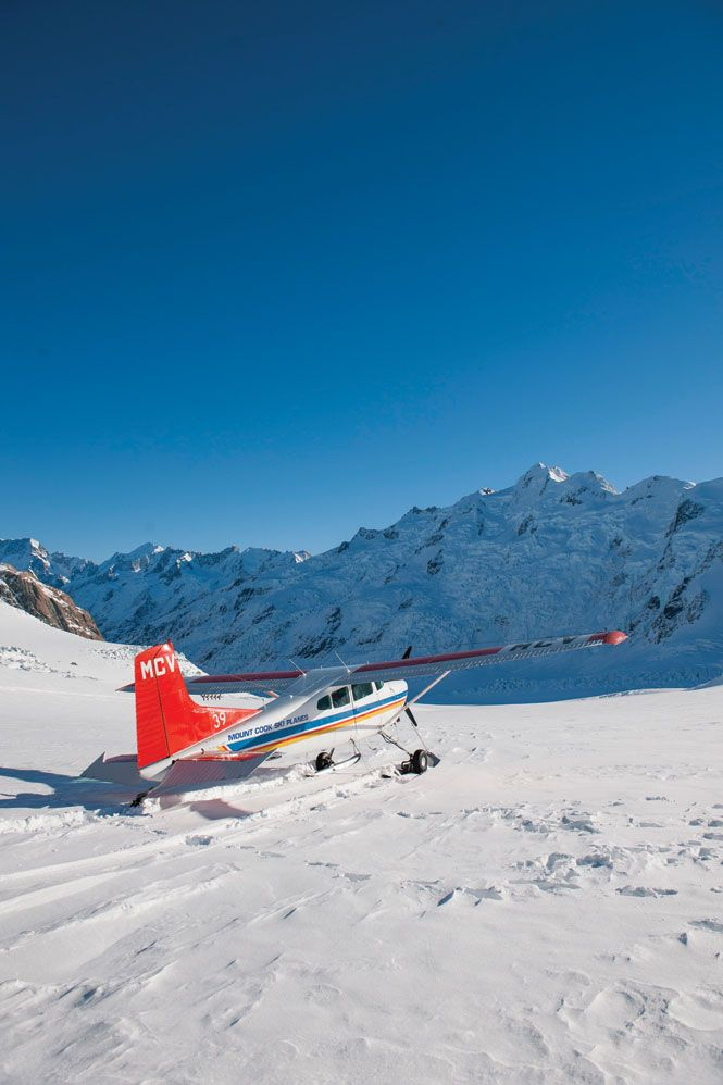 On the Tasman glacier with Mount Cook Ski Planes.