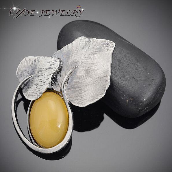 Iyoe мода металлические броши кулон ювелирные изделия в стиле кантри старинные лист броши и булавки женщины одеваются или шарф аксессуары.