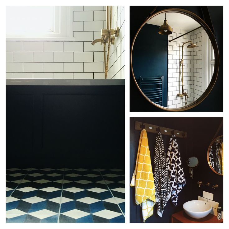 Blue cube encaustic cement bathroom tiles, antique brass mirror taps, Moroccan tiles, teak bathroom vanity, white metro tile bathroom. Bohemian vintage bathroom. Farrow ball Hague blue bathroom. House Tour: Our Blue, Brass metro tile bathroom.