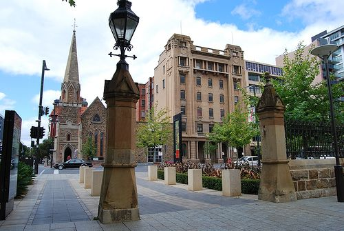 Scots Church North Terrace viewed from Adelaide University • Adelaide city • South Australia sight • Adelaide's churches