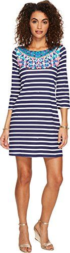 Printed straight fit 3/4 sleeve boat neck dress with twist back detail  http://darrenblogs.com/us/2017/11/29/lilly-pulitzer-womens-bay-dress/
