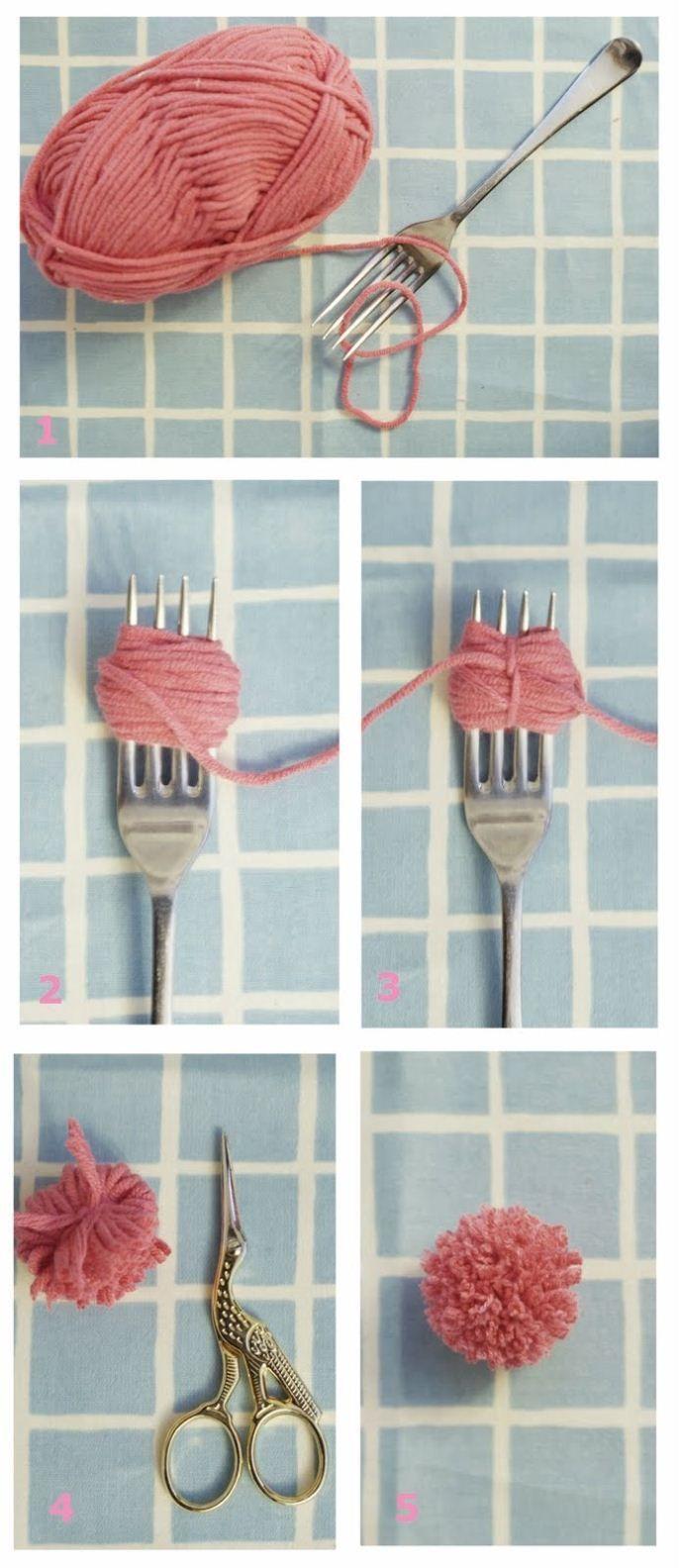 Como hacer pompones de estambre (lana) con un tenedor!