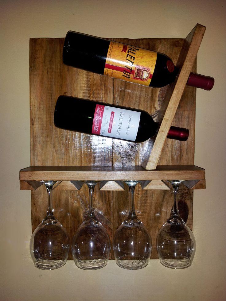 Porta vinos con porta copas wine  DIY  Proyectos