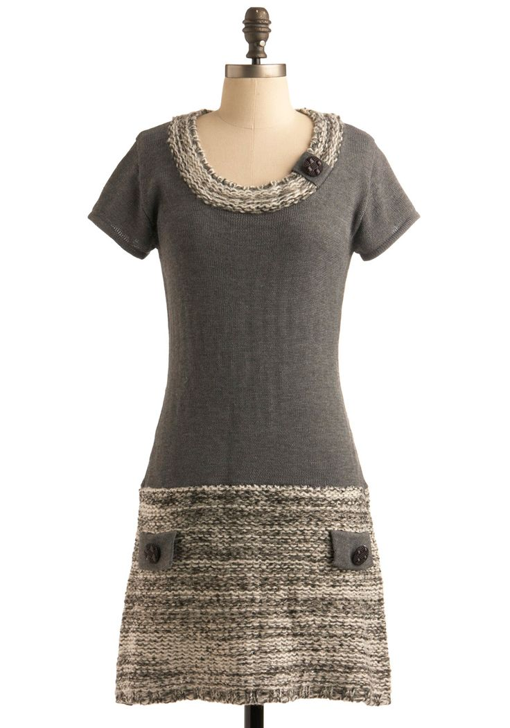 Crucial To Casualness Dress. You're having a handful of friends over tonight, and while you all love to dress up, you want this evening to be more comfortable and less competitive. #grey #modcloth
