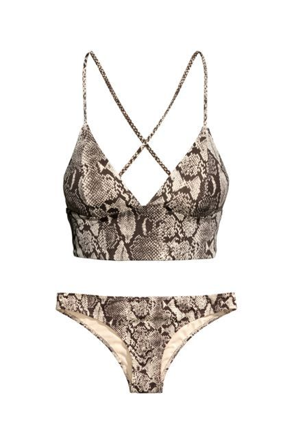 The Best Bikinis You Can Score For $50 Or Less #refinery29  http://www.refinery29.com/cute-bikinis-under-50-dollars#slide-3  Not only is a python-print bikini cool and unexpected, but the crisscross straps and extra coverage under the bust give it more support than most two-pieces.