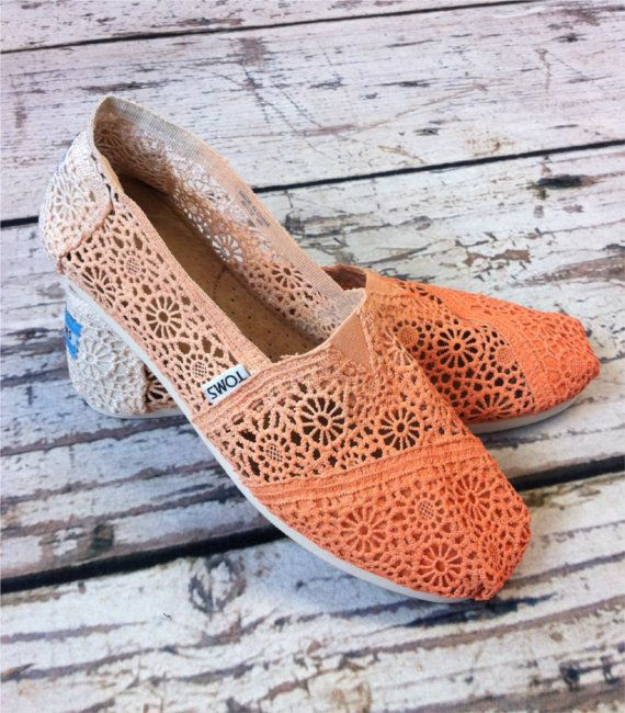 Dip Dye Crochet Ombre TOMS Shoes by metalnlace on Etsy, $100.00