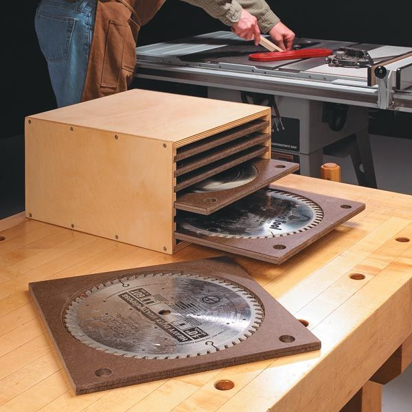 Make a place to store all of the saw blades for your circular saw, miter saw, and table saw