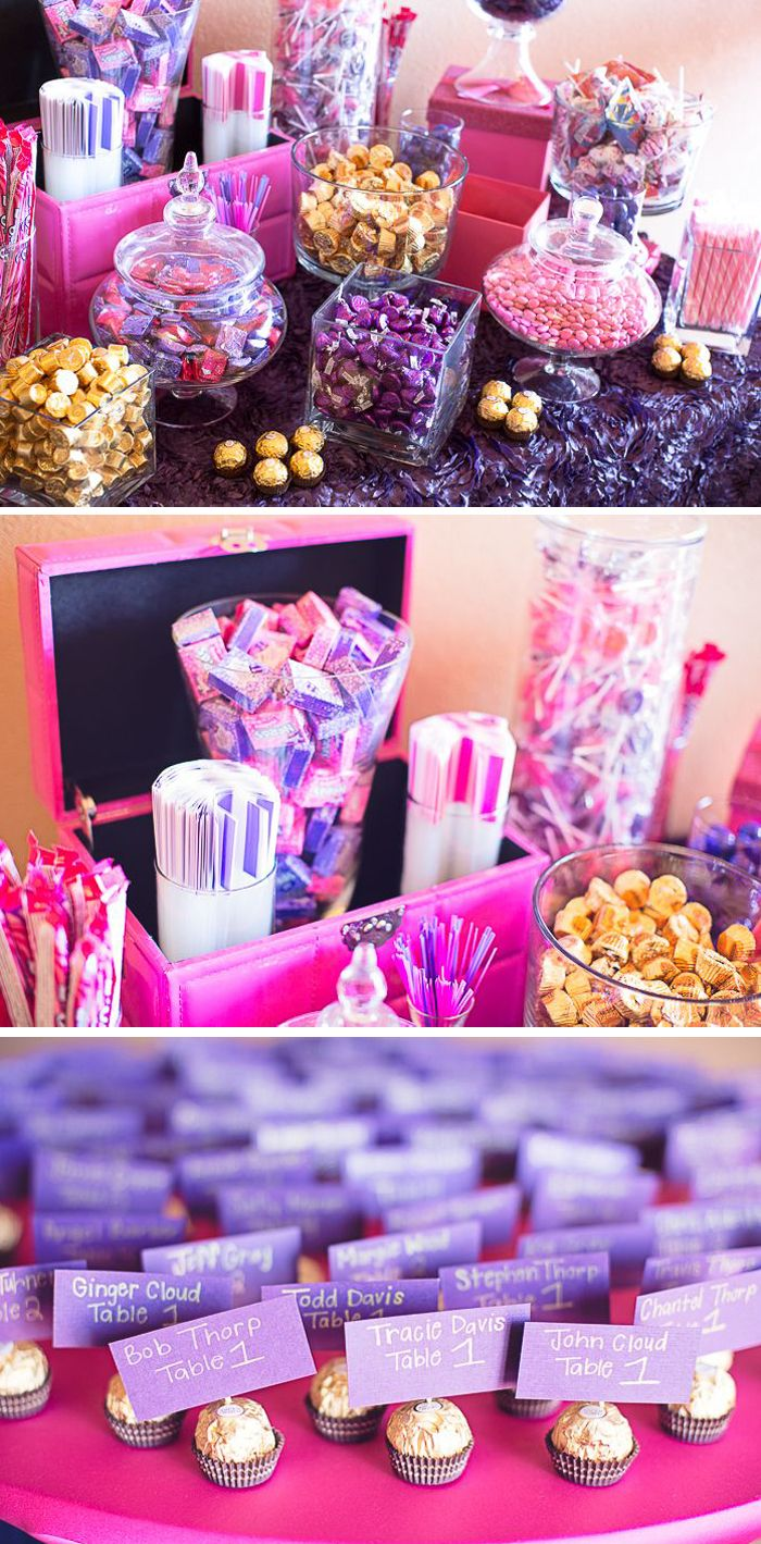 Sweet amp sparkly wedding candy buffet pictures to pin on pinterest - Modern Purple Arizona Wedding