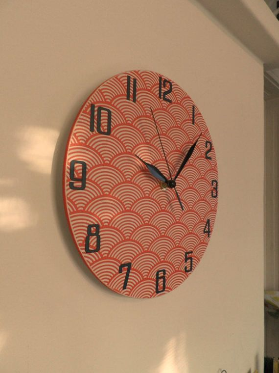 Red waves wall clock etra quiet clockwork white by Birdsland