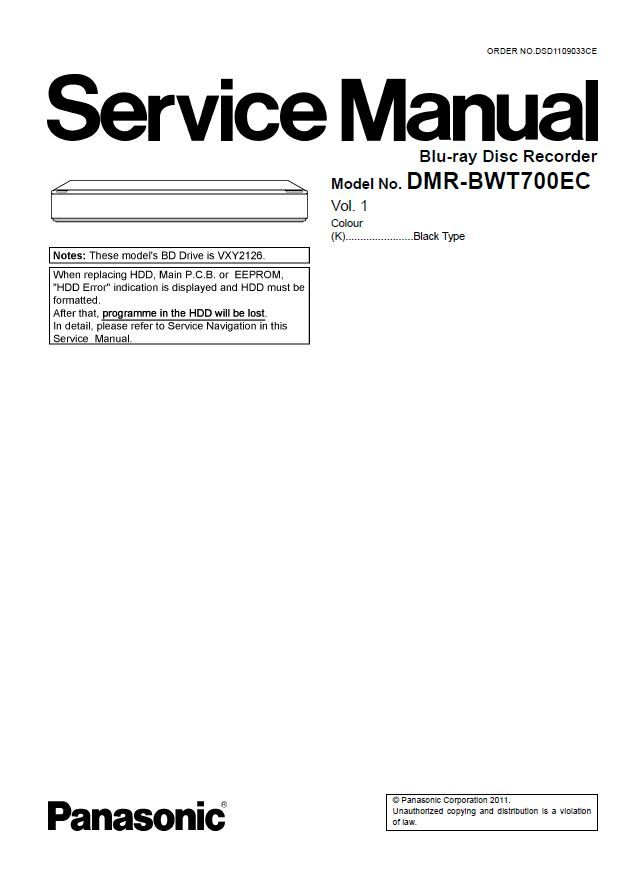 Panasonic DMR BWT700 BWT700EC Blu Ray Recorder Service