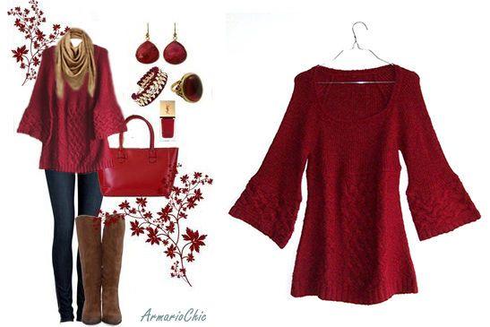 Jersey de lana muy agradable / color rojo carmesí / talla S / 14€ / envío GRATIS