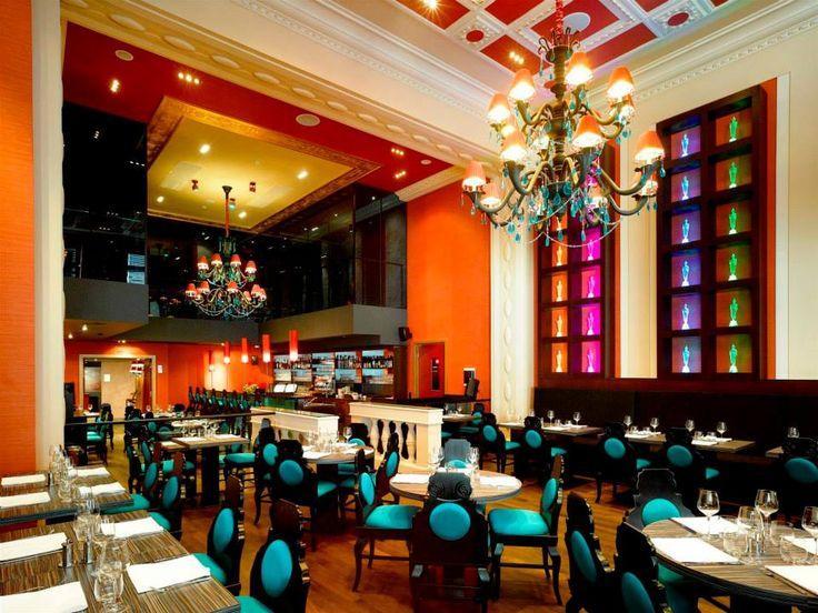 Buddha Bar Hotel Prague, Czech Republic. #restaurant #lighting #interior #design #hospitality #turquoise #blue #chandeliers