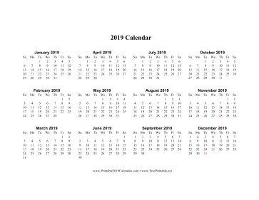 2019 Calendar (horizontal descending holidays in red)  Calendar