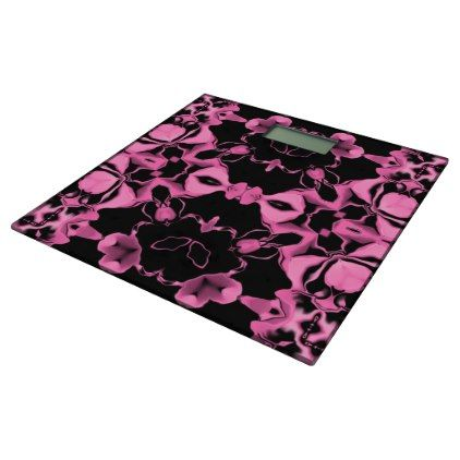 Pink Kaleidoscope w/Black Bathroom Scale - home gifts ideas decor special unique custom individual customized individualized