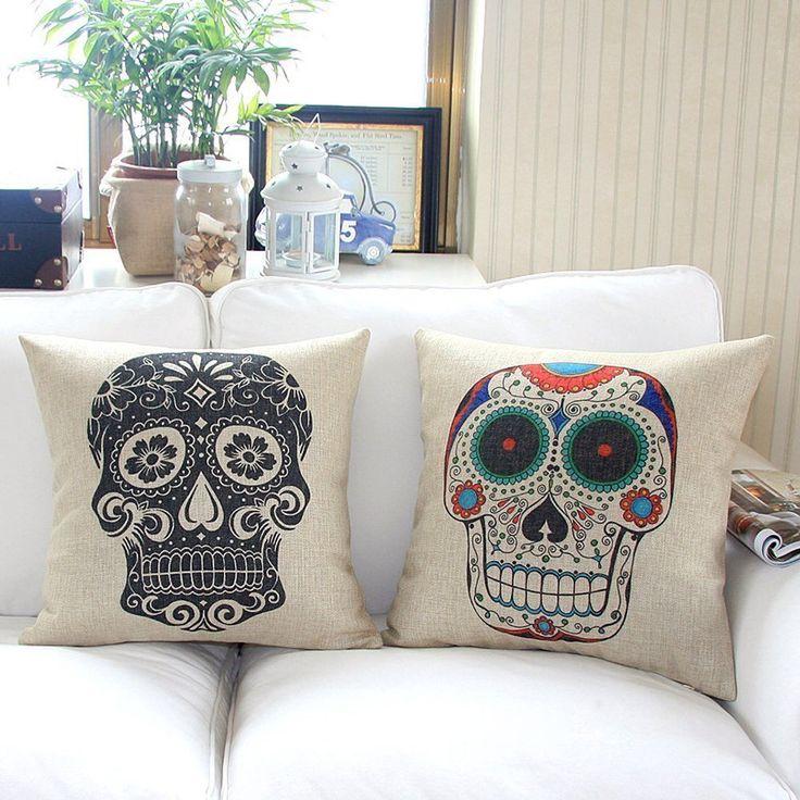 White Leather Sofa Nelipo Sets Home Style Cotton Linen Decorative Couple Throw Pillow Cover Cushion Case Couple Pillow Case Skulls