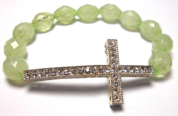 Sideways Cross Beaded Stretch Bracelets  Arm Candy  by ShopJosette