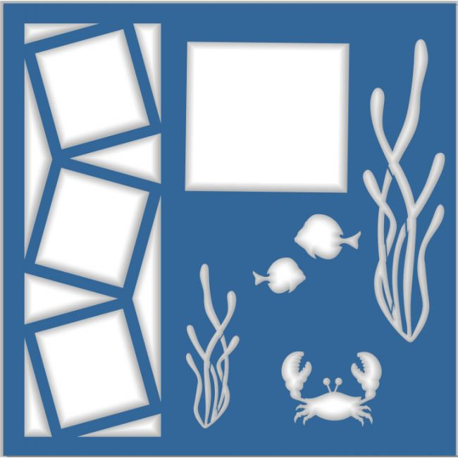 Sea Life - Laser Die Cut Scrapbook Overlay