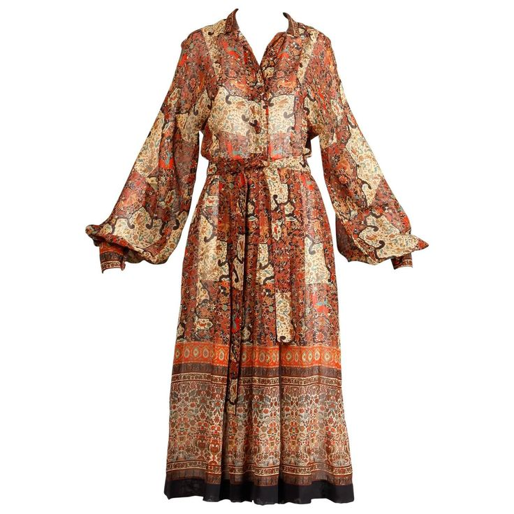 1970s Vintage Jean Varon Indian Paisley Print Dress with Balloon Sleeves | From a collection of rare vintage day dresses at https://www.1stdibs.com/fashion/clothing/day-dresses/