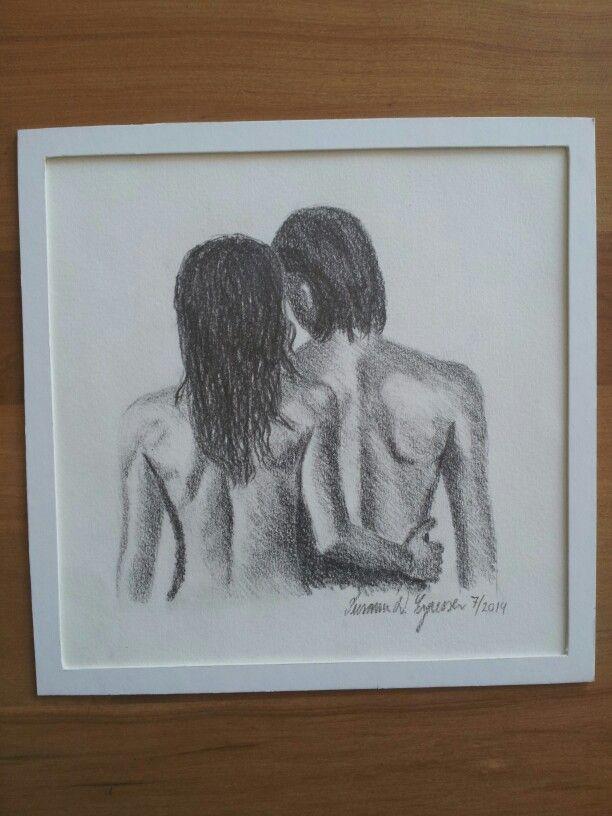 """""""Samhørighed"""" 20x20 cm,  tegning med blyant og grafitstift. Ryg, overkrop, krop, kvinde, mand, kunst, fællesskab Bag, body, woman, man, art, drawing with pencil."""