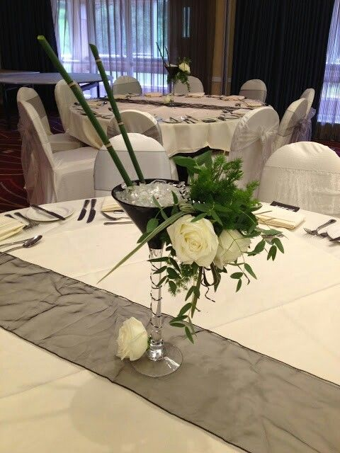 Black and silver table centers for little mirricals summer ball
