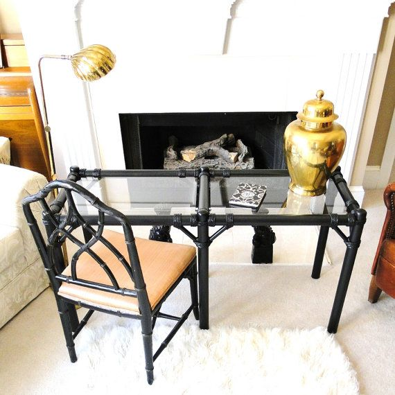 Vintage Table Chinoiserie Sofa Table Asian Desk Hollywood Regency Faux Bamboo Inspired Foyer Buffet Table Eclectic Home Decor on Etsy, $385.00