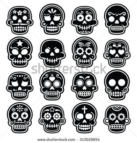 Halloween, Mexican sugar skull, Dia de los Muertos - cartoon icons by RedKoala