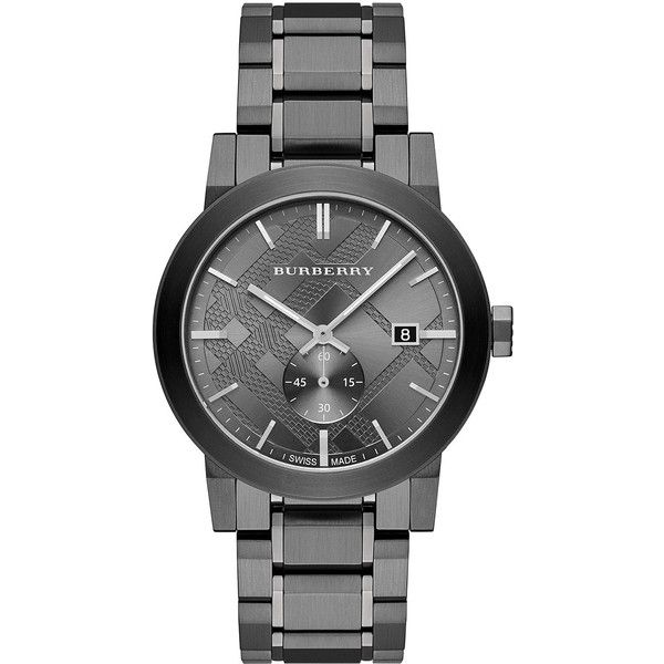 Burberry 42mm Stainless Steel City Bracelet Watch ($452) ❤ liked on Polyvore featuring men's fashion, men's jewelry, men's watches, black, burberry mens watches, mens leather strap watches, stainless steel mens watches, mens chronograph watches and mens blue dial watches