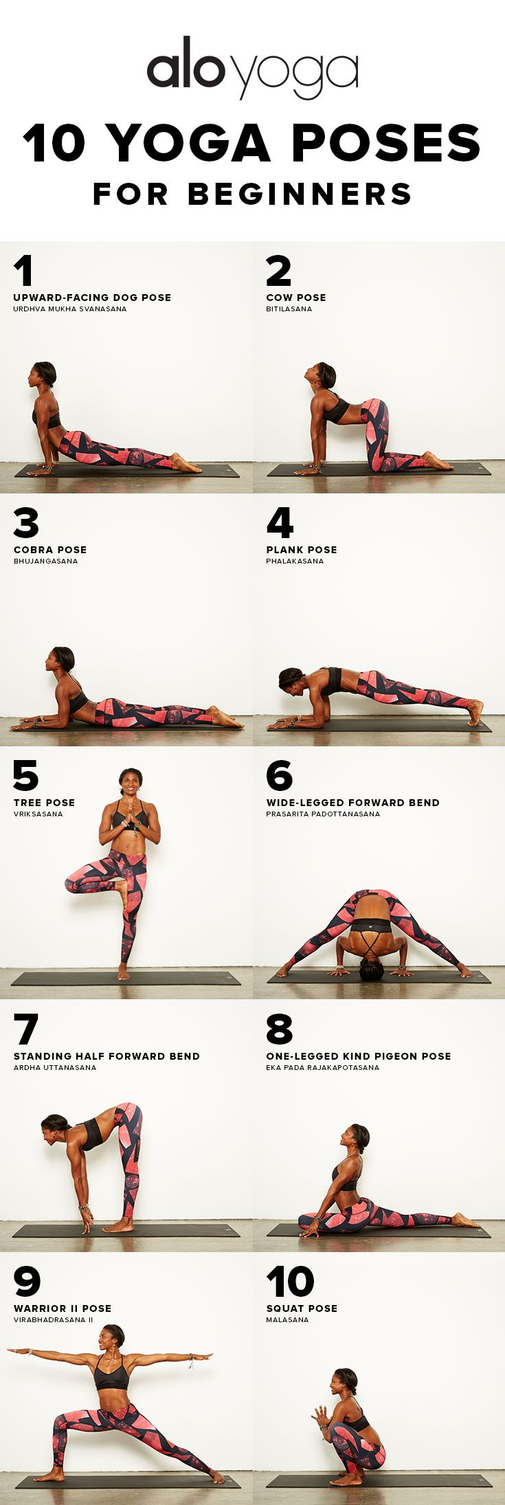 10 Yoga Poses For Beginners http://www.aloyoga.com