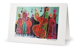 """""""All That Jazz"""" 5X7"""" Blank inside. Created from an original painting by Patt Scrivener, AFCA"""