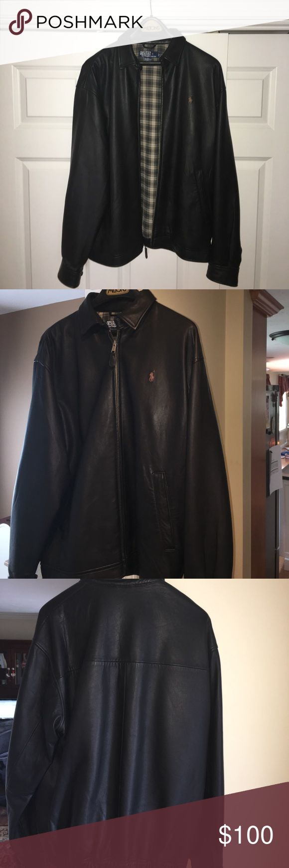 Men's Ralph Lauren Polo Leather Jacket Beautiful, gently worn black leather jacket with brown Polo logo on left chest Polo by Ralph Lauren Jackets & Coats Bomber & Varsity