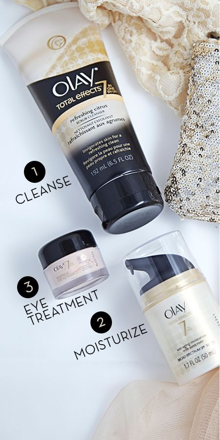 Olay Total Effects: easy, three-step anti-aging regimen for clean, hydrated and younger-looking skin.