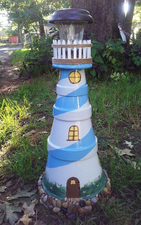 Topfern Ideen Kreative Gestaltung Diy Ideen Diy Deko Selber Machen Handwerk Blu Gartendekoration Terra Cotta Pot Crafts Clay Pot Crafts Clay Pot Lighthouse