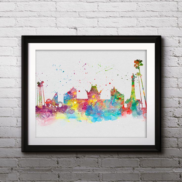 Disneyland Florida skyline watercolor Art, skyline urban, Disney Places print