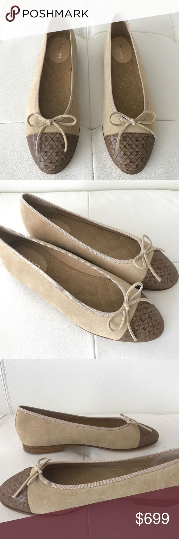 2017 CHANEL Classic Beige Suede Ballet Flats 2017 Chanel Classic Beige Suede Ballet Flats with 3D CC Hologram Brown Cap toe  100% AUTHENTIC CHANEL BRAND NEW!!!  NEVER USED!  NEVER WORN! IN BOX WITH BOTH DUSTBAGS!  Color: tan/nude/Beige/brown Size: 38 1/2 (38.5) (8.5 / 8 1/2) True to size 8.5.  Super cute!! Released in 2017.  No longer available in stores.  Retail Price: $800 plus tax  I LOVE THESE SHOES.  THEY ARE GREAT LOOKING AND STAND OUT SUBTLY. Purchased from high-end department store…