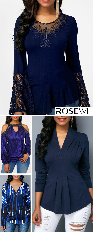 Jetzt einkaufen – Asymmetrische Bluse mit ausgestelltem Saum und Ärmel in Marineblau