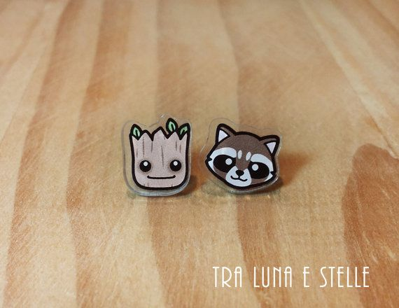 Earrings Groot and Rocket Raccoon, Guardians of the Galaxy