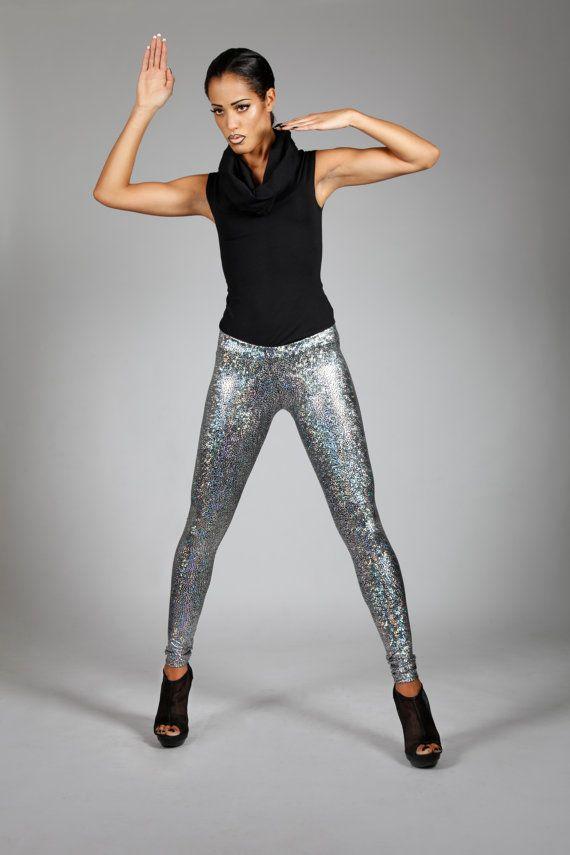 Holografische zilveren Leggings, futuristische Fashion, fase kleding, Cyber Space Halloween kostuum, door LENA QUIST Hologram Disco broek, dansen