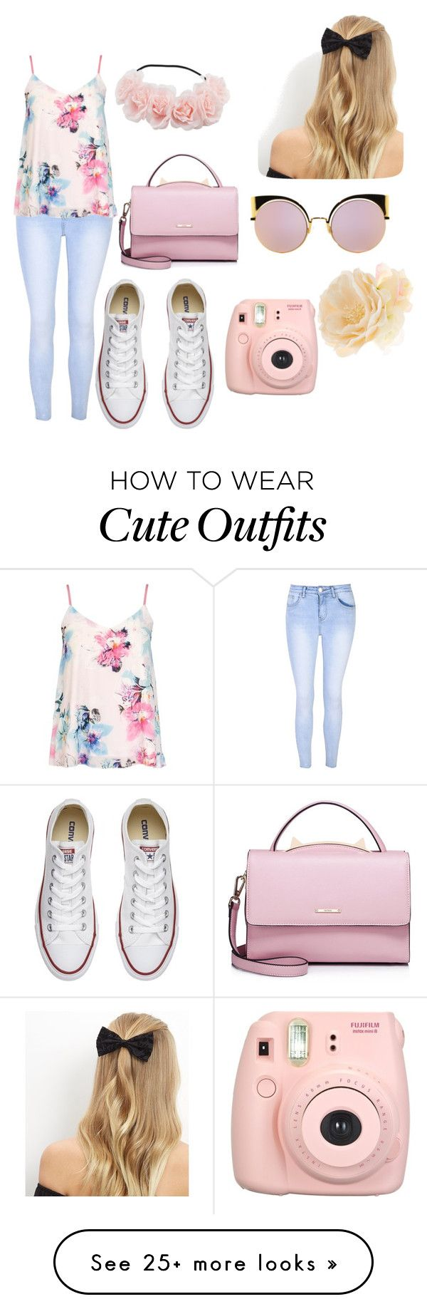 """Cute school outfit"" by da-queen078 on Polyvore featuring Glamorous, Dorothy Perkins, Converse, WithChic, Fujifilm, New Look, Fendi and Accessorize"