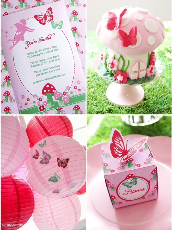 Pink pixie fairy birthday party ideas with lots of DIY decorations, party food…