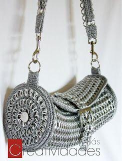 """Tutorial del bolso """"Karla"""" - magnifique sac à main à faire au crochet avec des capsules de boîte de boissons"""