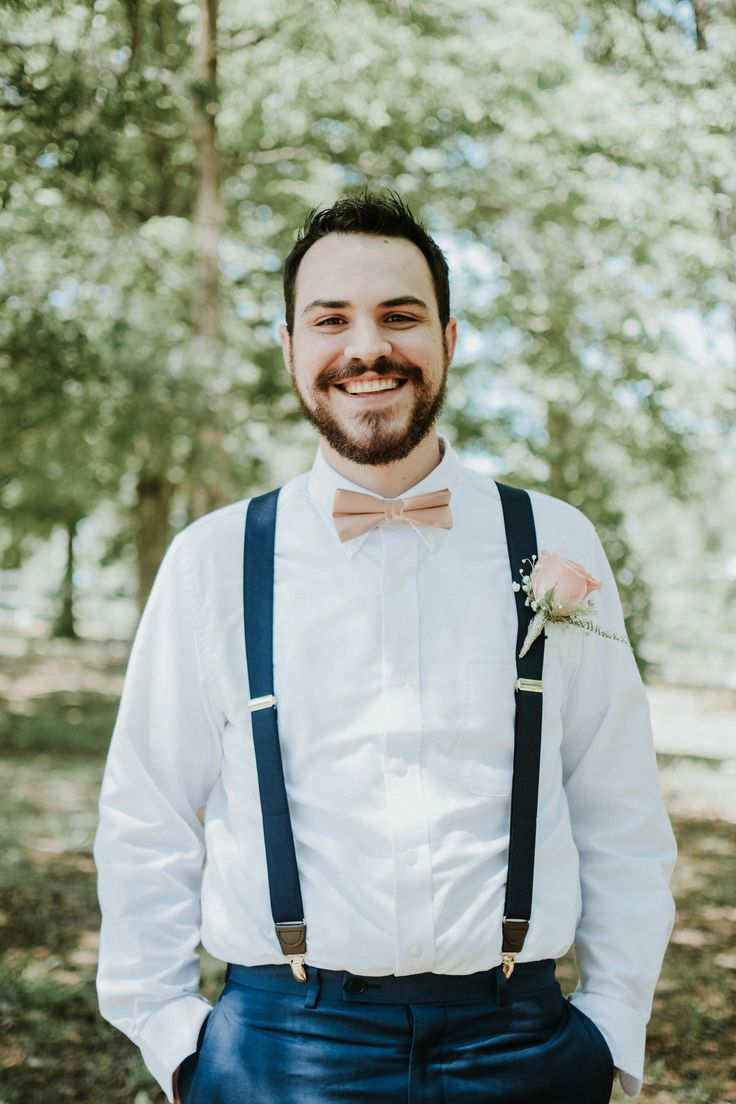Southern groom, blue suspenders, pink bow-tie, pink rose bout, casual groom attire, follow this board for more groom fashion inspiration // AJ Puckett Photography