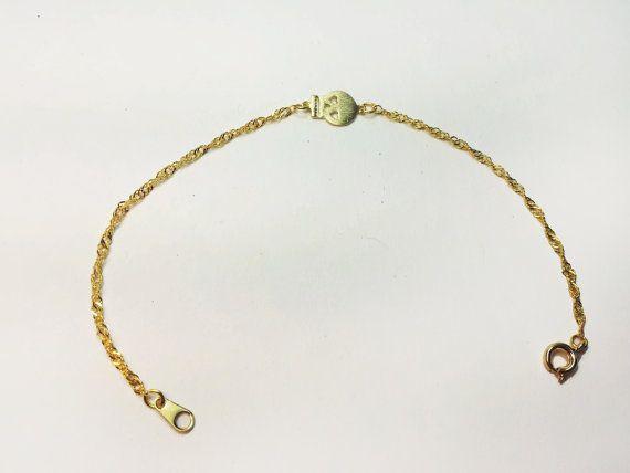 Cute Punk Rock Golden Skull Bracelet