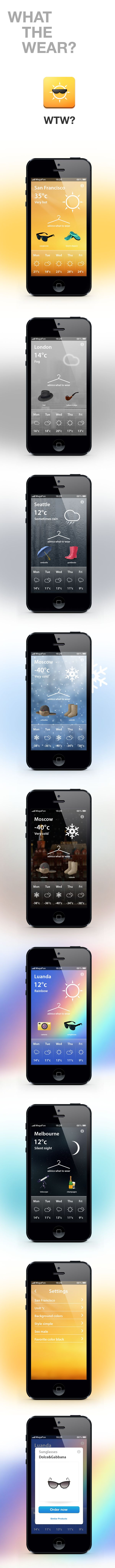 WHAT THE WEAR? *** another weather app concetp by Alex Martinov, via Behance *** #iphone #weather #gui