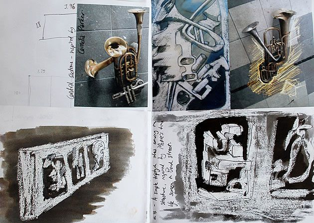 Another sketchbook page by Robert James Hawkins, this example this shows the development of ideas for a sculpture inspired by deconstructed brass instruments. Of particular interest are the drawings directly onto photographs – an often underutilised technique that can be a great way of generating exciting and interesting ideas.