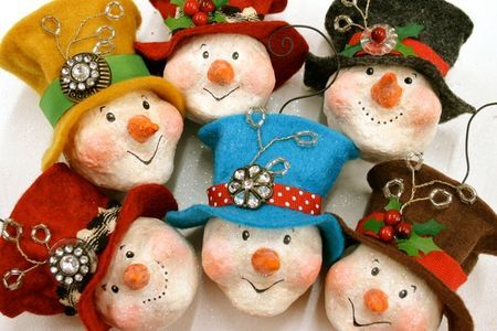 Karla Dornacher's ADORABLE handcrafted snowman ornaments - LOVE!: karladornacher.ty...