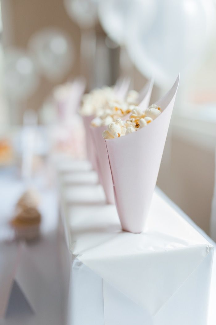 Popcorn filled cones from Sugar & Spice 1st Birthday Party at Kara's Party Ideas. See more at karaspartyideas.com!