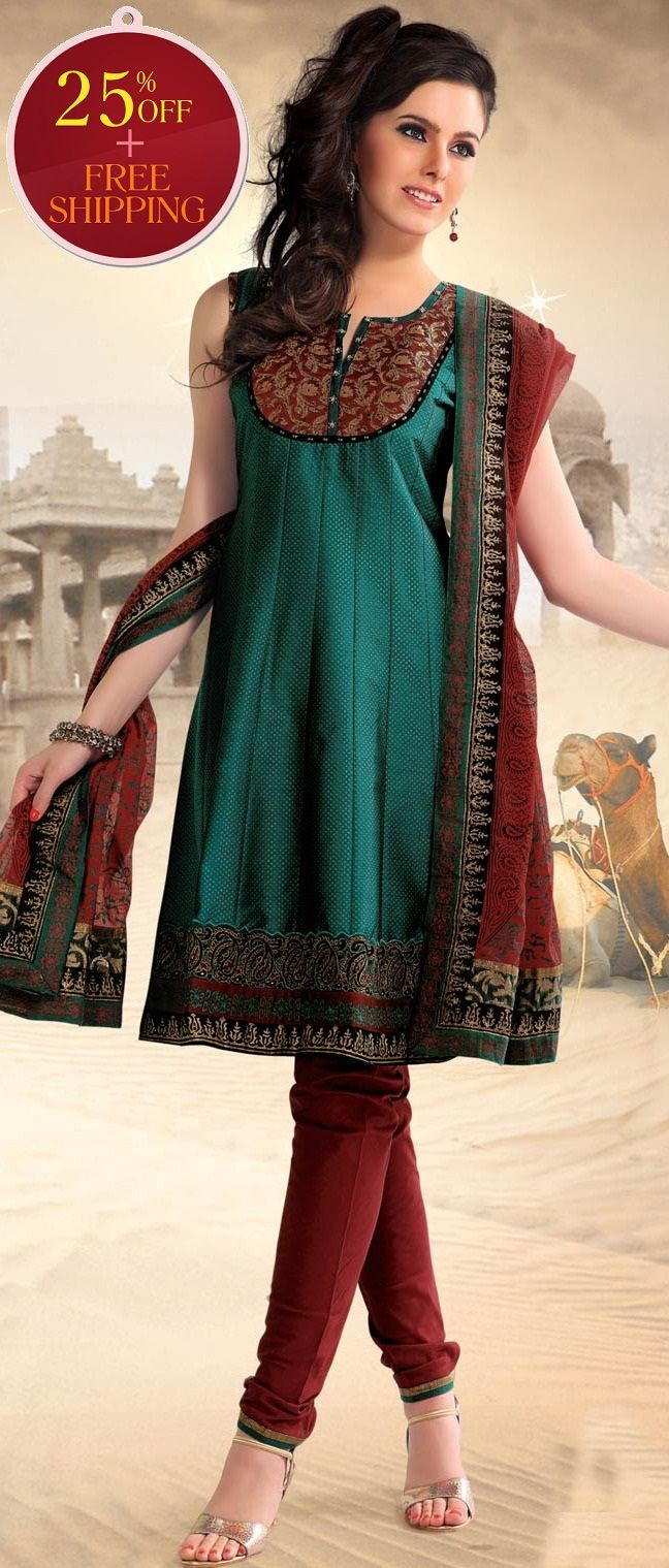 #Green Poly #Cotton Readymade #Churidar Kameez @ $ 87.12