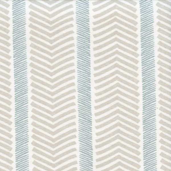This is a tan, blue-gray and white large vertical herringbone stripe drapery fabric by P Kaufmann Fabrics, suitable for any decor in the home or office.  Perfect for pillows drapes and bedding.