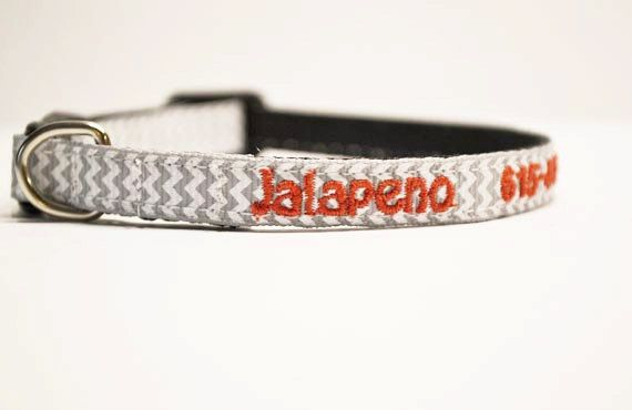 Personalized - Mini dog/cat collars for the tiny breeds - gray chevron - Made to order ($10)